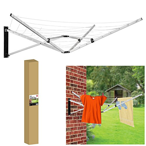 ASAB Retractable Wall Mounted Washing Line | 26 Meter Laundry Dryer | 5 Arm Folding Cloth Airer for Outdoor and Indoor