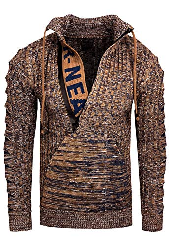 Rusty Neal Zipper Stehkragen Pullover Herren Strick Grobstrick Strickpullover Langarm 328, Farbe:Camel, Größe:S