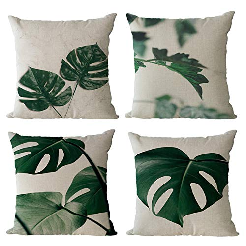 GenericBrands Cushion Covers Green leaves Square Cute Throw Pillow Covers Pillowcases Decorative for Couch Living Room Sofa Bed with Invisible Zipper 18x18 Inches Set of 4