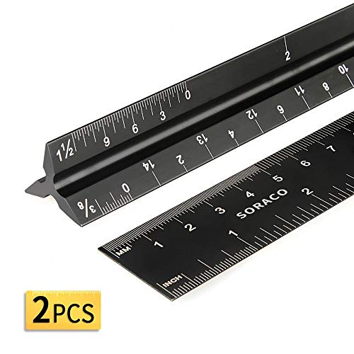 12 Inch Triangular Architectural Scale Ruler and Engineering Drafting Ruler Set (Imperial) with Standard Metal Ruler Included