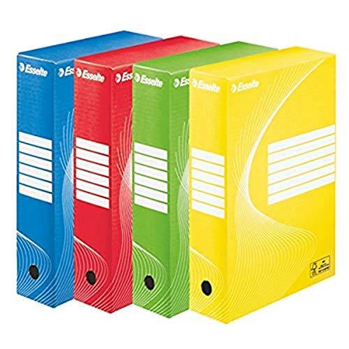 Esselte Boîte à Archive Standard, 80 mm, A4, Boîte Transfert, Carton Ondulé Sans Acide, Lot de 4, Capacité 600 Feuilles, Couleurs Assorties, 128409
