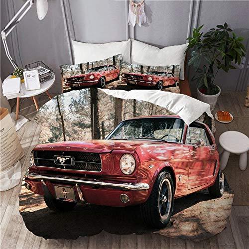 XINGAKA Funda nórdica Estampada,Coche Ford Mustang Coche Rojo Coche Deportivo Alto Rendimiento Retro Bosque Planta Otoño,Conjunto de Ropa de Cama de poliéster de 3 Piezas 135 * 200cm