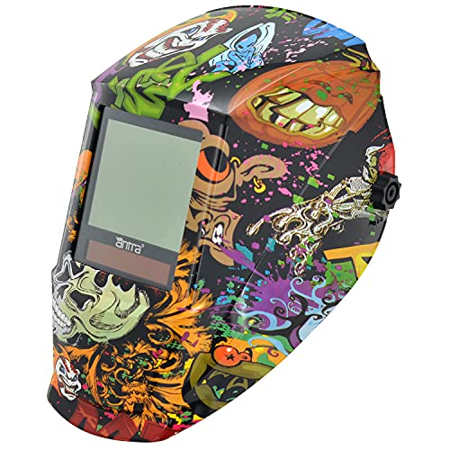 Antra True Color Huge Viewing, Super Wide Shade Range 4/5-14 Auto Darkening Welding Helmet A77D-04, for TIG, MIG/MAG, MMA, Plasma, Grinding, Solar Power w Lithium Backup, 6+1 Extra lens covers