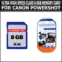 ULTRA HIGH SPEED CLASS 6 8GB MEMORY CARD FOR CANON POWERSHOT G12 G7 G9 G10 G11 SD700 SD790 SD800 SD850 SD870 SD880 SD890 SD900 SD950 SD970 SD990 SX200 SX20 IS SX20IS SX100 + PACK OF SCREEN PROTECTORS
