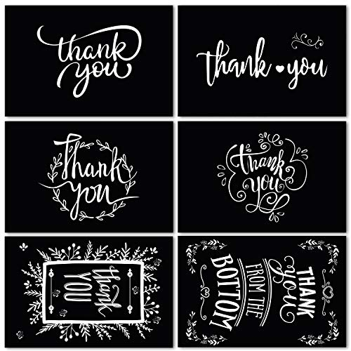 48 Pack Black and White Chalkboard Thank You Cards with Envelopes and Stickers, 6 Assorted Chalk Art Designs Thank You Bulk Notes for Graduation, Funeral, Business and All Occasions 4x6 Inches