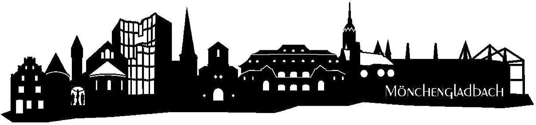 Samunshi® Wandtattoo Mönchengladbach Skyline Wandaufkleber in 6 Größen und 19 Farben (150x34cm schwarz) B006647VVK