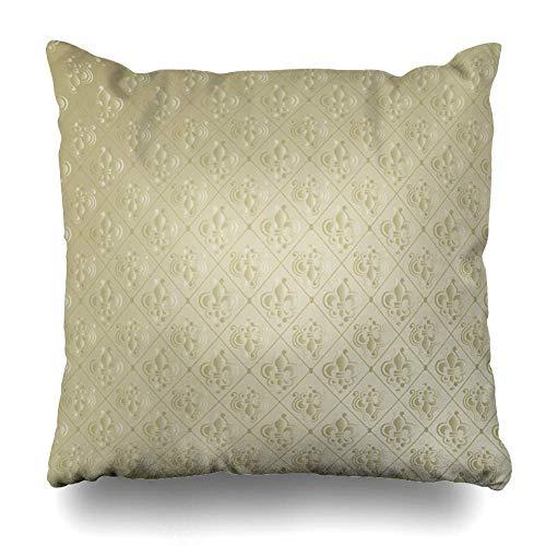 Funda de almohada con diseño de flores tribales de Lis abstracto, diseño barroco artístico antiguo con cremallera en espiral, tamaño cuadrado 45,7 x 45,7 cm, decoración del hogar