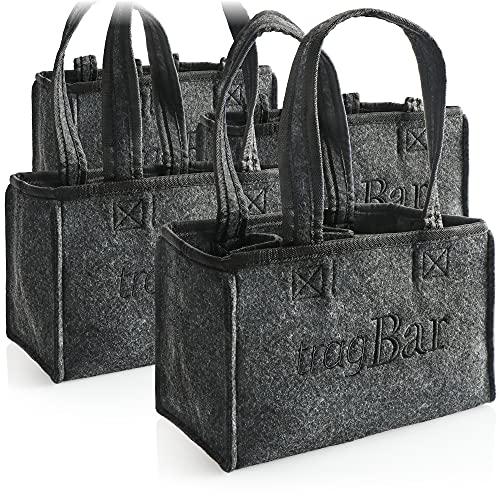 COM-FOUR® 4x Sac à main pour hommes - sac en feutre pour boissons - sac en feutre pour 6 bouteilles - support pour 6 bouteilles jusqu'à 0,5 L, gris/noir, 23 x 15 x 15 cm (Motif 2-4 pièces)