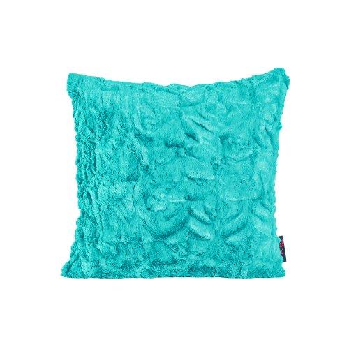 MAGMA Fluffy Kissenhülle ca. 40x40 cm kuschelweicher Kissenbezug Dekokissen in Felloptik Farbe: Türkis