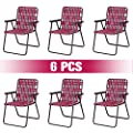 GYMAX Patio Folding Chair Set, 6 Pack Portable Lightweight Indoor/Outdoor Dining Chair for Patio, Garden, Bay, Yard, Lawn, Heavy Duty Chair Set (Red)