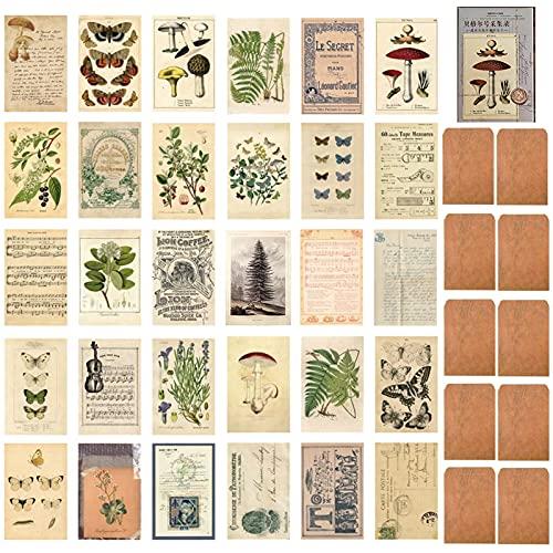 DTMEFJ 40 Stück Vintage Postkartenmaterial Papier Set, Floral Retro Pflanze Pilz Schmetterling Old Time Memory Brief Noten Postkarten DIY Kartenpapier zum Basteln