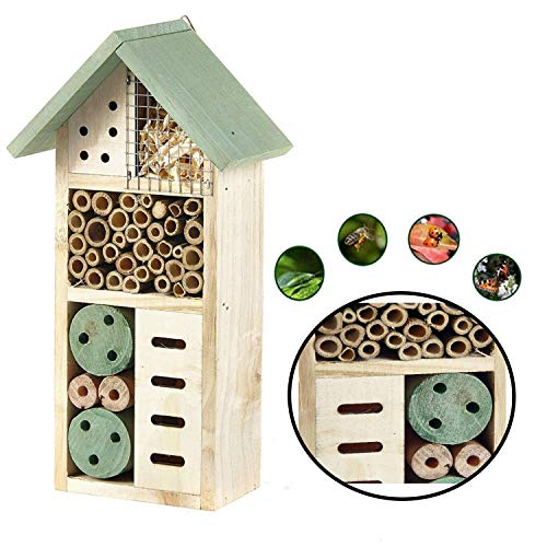 Heritage Fix On Insect Natural Wooden Insect Bee House Hotel Nest Home Keeping Bug Garden Ladybird Box (2365 Green Small Insect Hotel)