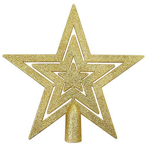Aneco Mini Glitzer Stern Christbaumspitze Dekoration bruchsicher Stern Baumspitze für Weihnachtsbaum Ornament