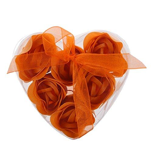 WOVELOT Une Boite cordiforme de savons de Fleur Orange(inclut 6 Fleurs)