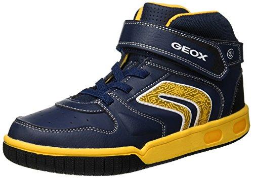 Geox Jungen JR Gregg B Hohe Sneaker, Blau (Navy/Yellow C4054), 25 EU
