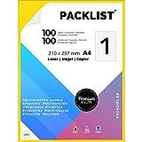 PACKLIST Papel Pegatina para Imprimir, 100 Etiquetas Adhesivas A4 - Etiquetas impresora 210 x 297 mm. 100 Hojas, 1 Etiqueta Hoja - Papel Adhesivo para Imprimir - Papel de Pegatina Impresión Premium