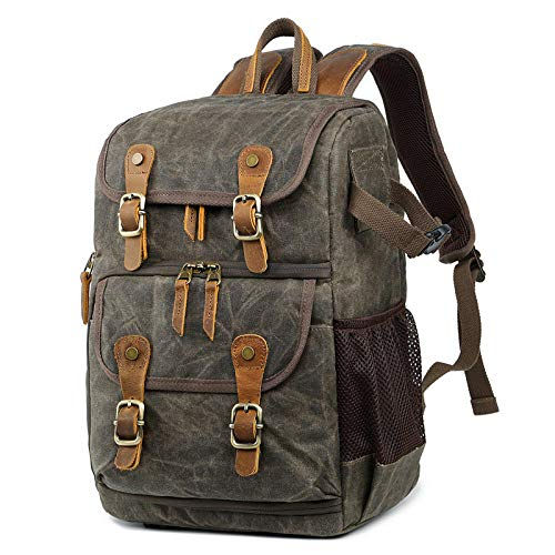 ENLAZY Large Capacity Waterproof Oil Wax Canvas Camera Bag Outdoor Camera Bag SLR Photography Bag Digital Backpack for Men and Women Outdoor Travel Hiking, Military Green
