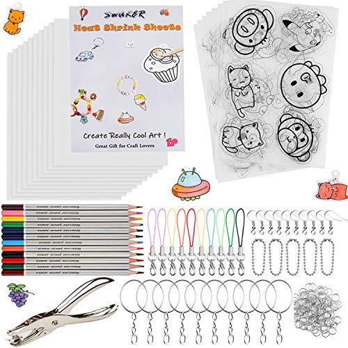 Heat Shrink Plastic Sheet Kit, 166 Pcs Shrink Art Kit Include 10Pcs Shrink Film Paper and 8 Pcs Shrinky Art Paper with Pattern, Hole Punch, Keychains Accessories and Pencils for Kids Creative Craft