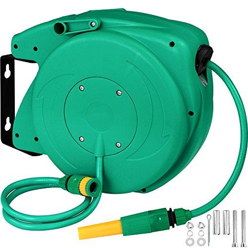 TecTake Schlauchtrommel Gartenschlauch Wasserschlauch | Einzugsautomatik | Wandhalterung | Inkl. Wasserspritze - Verschiedene Modelle (Typ 1 | No. 402761)