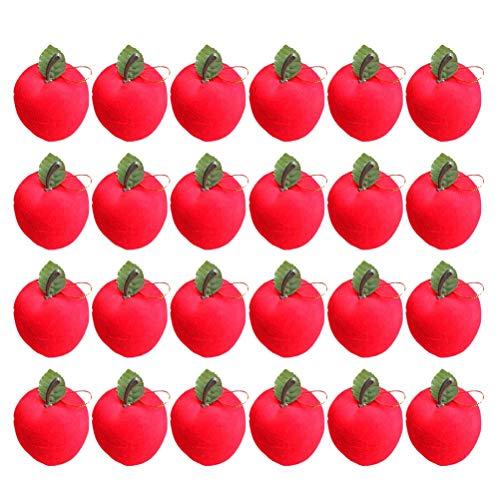 LIOOBO 24pcs 3cm Manzanas Rojas del árbol de Navidad Colgante Colgantes Adornos Colgantes decoración para la Escuela de la Empresa Comercial (Rojo) Decoración navideña