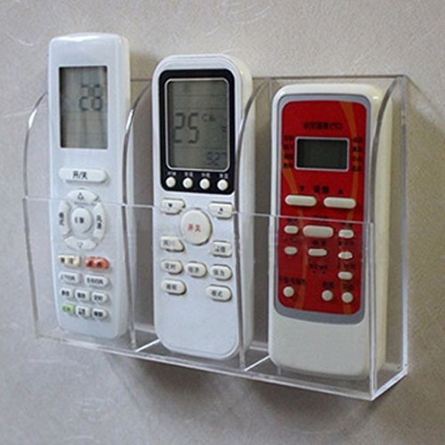 dingdangbell Porta Telecomando, Supporto da Parete in Acrilico Trasparente Home Organizer Storage Box con Tre Scomparti per TV Dvd condizionatore d' Aria
