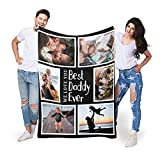 Best Daddy Ever Custom Throw Blanket with Photo Gifts for Dad Personalized Blankets with Pictures Customized Blanket for Dad Grandpa on Fathers day, Christmas from Daughter Son Wife|10 Colors|32'X48'