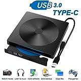EasyULT Unità CD DVD Esterna, Portatile Masterizzatore e Lettore CD/Dvd-RW Esterno con Doppia Interfaccia USB 3.0 e Type-C, Compatibile con WIN98/7/8/10/XP, Vista, Linux, Mac OS 8.6