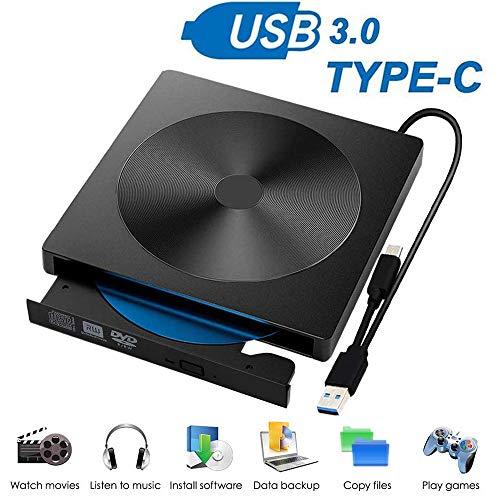 EasyULT Externes DVD Laufwerk, USB 3.0 Typ C Dual Port, Portable Slim CD/DVD-RW Laufwerk Brenner, DVD/CD Brenner und -Lesegerät Plug&Play, CD DVD Laufwerke für Laptop, MacBook, Desktop(Schwarz)