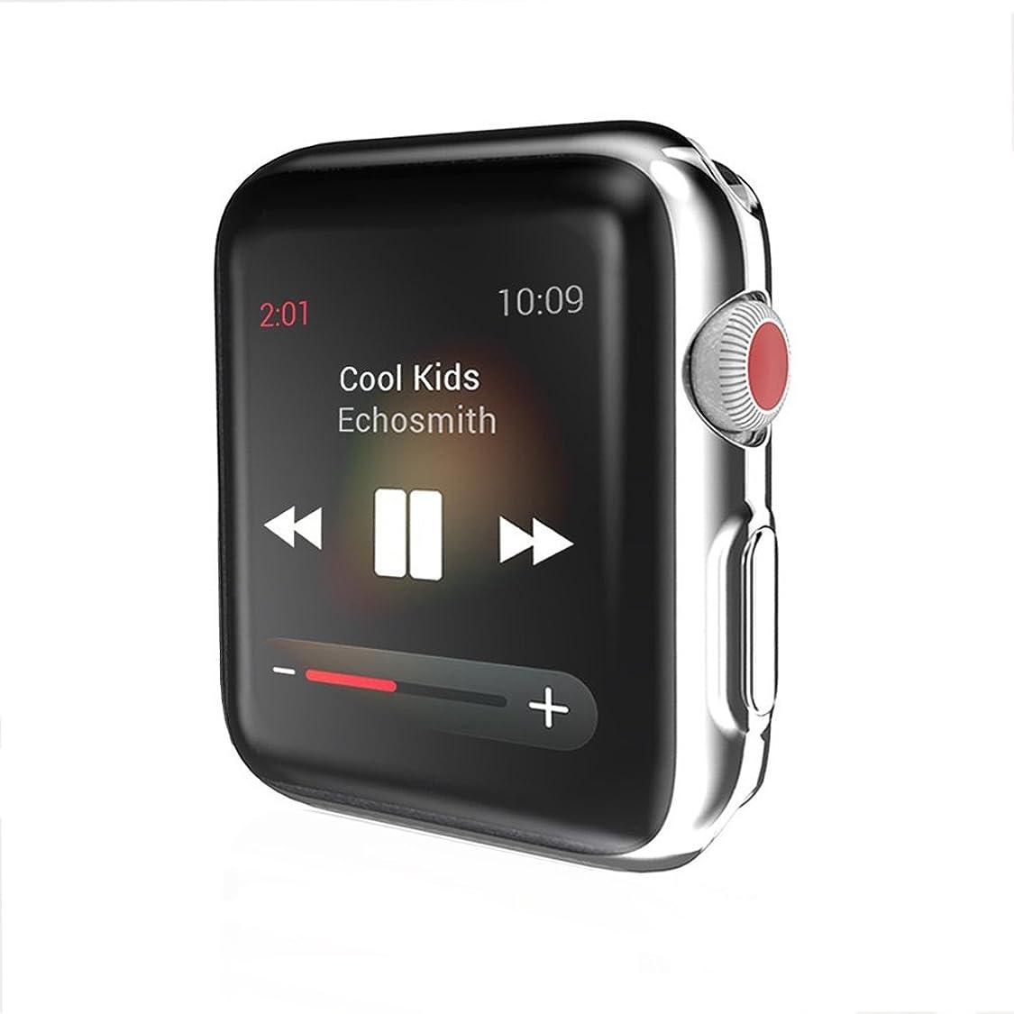 なかなか適切なブラウンHaotop for Apple Watch ケース,アイフォンウォッチ Series 3/2 柔らかい TPU 保護フィルムオールラウンド超薄型カバー新しいアップルウォッチ ケース (42mm, 銀)