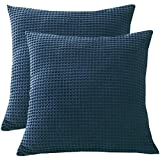 PHF 100% Cotton Waffle Textured Euro Sham, 26' x 26', Set of 2, Home Decorative Euro Throw Pillow Covers for Bed Couch Sofa, No Filling, Low Covers for Bed Couch Sofa, No Filling, Navy Blue