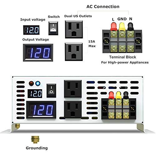 WZRELB DC to AC Converter Off Grid Pure Sine Wave Power Inverter Generator (2500w 12v 120v)