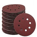 40PCS / set 5Inch 125mm Disco de lija redondo de ocho agujeros, hojas de arena Grit 40-2000 Disco de lijado de gancho y bucle Pulido, 1200/1500/2000/3000 10PCS cada uno