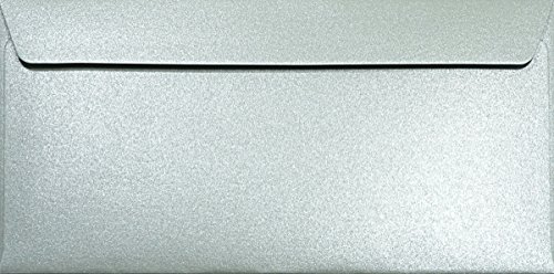 25 Perlmutt-Silber DIN Lang Briefumschläge 120g 110x220 mm Majestic Moonlight Silver gerade Klappe Perlmuttglanz Kuverts elegant Perlglanz-Briefumschläge metallic-Effekt silber-schimmernd hochwertig
