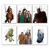 Lord of The Rings Wall Art Posters - Set of 6 LOTR Home Decor Prints - Aragorn - Legolas - Gandalf - Gimli - Frodo Baggins - Gollum - Sauron (8x10)