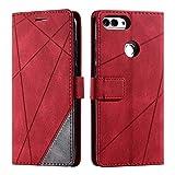 Hülle für Huawei Honor 9 Lite, SONWO Premium Leder PU Handyhülle Flip Hülle Wallet Silikon Bumper Schutzhülle Klapphülle für Huawei Honor 9 Lite, Rot