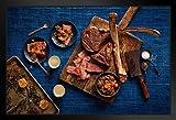 Tomahawk Steak Meat BBQ Lovers Photo Black Wood Framed Art Poster 20x14