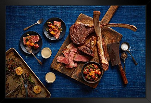 Tomahawk Steak Meat BBQ Lovers Photo Photograph Art Print Stand or Hang Wood Frame Display Poster Print 13x9