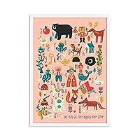自由奔放に生きる保育園ポスターAbcアルファベット壁アートパネル動物キャンバス絵画インテリアプリント女の赤ちゃんギフトキッズルームプレイルーム写真装飾40x50cmフレームなし