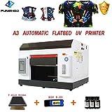 Impresora DTG, A3 UV con LCD, impresora automática de cama plana para camiseta, tarjeta de PVC, funda de plástico de madera (con molde)