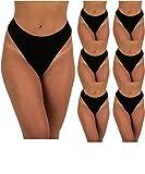 Sexy Basics Women's 6-Pack Active Sport Thong Panties Underwear (6 PK- Black, X-Large)