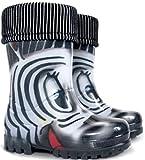 Demar Boys Girls Kids Warm Fleece-Lined Wellington Boots Wellies Zebra (13-1 UK / 32-33 EU - 21 cm) Black White