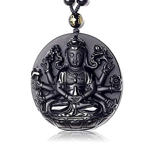 Chenran Halsketten Naturstein-Anhänger Schwarze Obsidian Rund tausend Hände Guanyin Buddha-Amulett Glück des Geliebten Halskette Schmuck Geschnitzte Geschenk (Metal Color : Rope Chain)