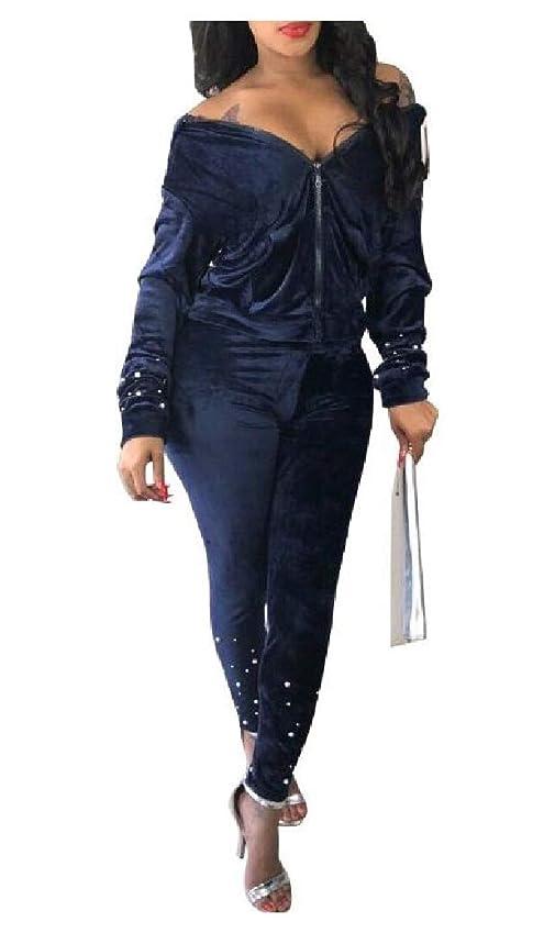 建設アレキサンダーグラハムベル彼Womens Nail bead Hooded Zip-up Casual Tops Jackets and Sweatpants Sets