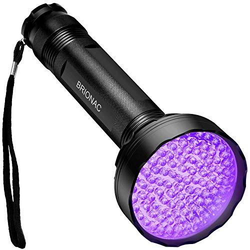 Brionac UV-Taschenlampe, 100 LEDs, 395 nm Wellenlänge, für Hunde/Katzen-Urin, trockene Flecken, Bettwanzen, Schwarz, 100LED