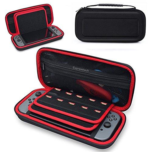 Expresstech @ Funda Protección Carcasa Case Portátiles Bolsa de Almacenamiento con 20 Cartuchos de Juego Shock-Absorción y Anti-Arañazos para Nintendo Switch Consola adaptador de AC y accesorios