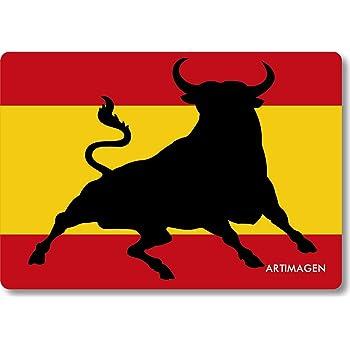 Artimagen Imán Bandera España con Toro Saltando 80x55 mm.: Amazon.es: Hogar