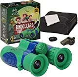 GOLDEN FROG 3-in-1 Kids Binoculars - High Powered, Shock Proof, 8x21 Magnification - Safety Whistle with Temperature Gauge & Compass - Travel, Camping, Adventure, Outdoor Childrens Exploration Gear