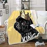 Fleecedecke 3D gedruckt Kuscheldecke Welpe mit Krone Plüschdecke Warme Tagesdecke Sherpa Flanell Wurfdecke für Erwachsene Kinder Freizeit Couch Stuhl Weiche Decke 130x150 cm