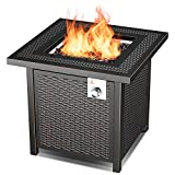 OT QOMOTOP 28'' Propane Fire Pit Table with 50,000 BTU, Rattan-Look Square Fire Table with Lid, CSA Safety Certification, Adjustable Flame