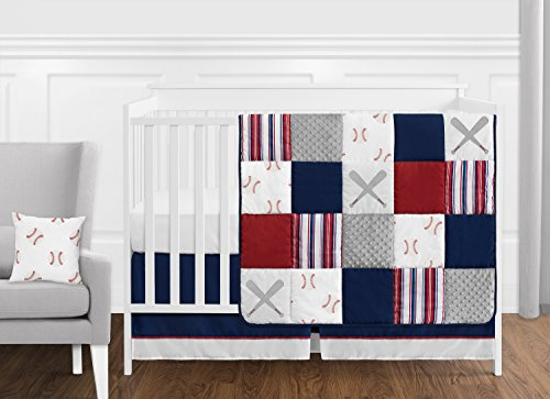 Sweet Jojo Designs Red, White and Blue Baseball Patch Sports Baby Boy Crib Bedding Set - 11 Pieces - Grey Patchwork Stripe
